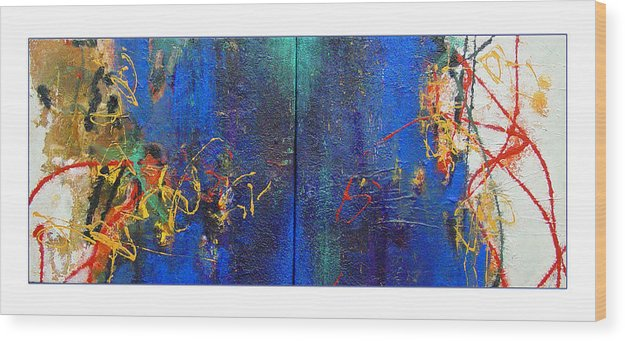 Abstract Wood Print featuring the painting Duo by Dale Witherow