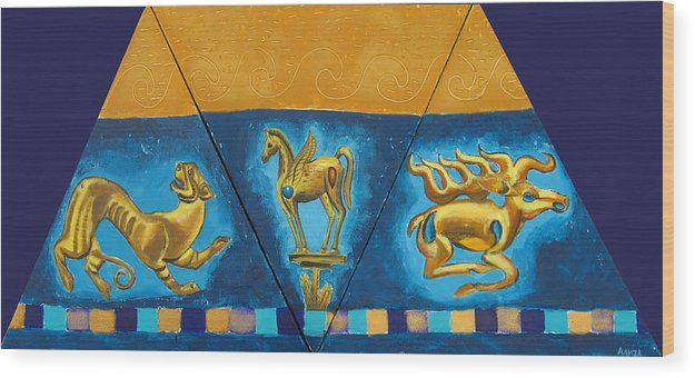Abstract Wood Print featuring the painting Scythian Gold 5 by Aliza Souleyeva-Alexander