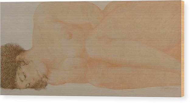 Female Nude Wood Print featuring the painting Silent Repose by Gary Kaemmer