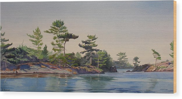 Rocks Wood Print featuring the painting Stoney Lake Morning by Debbie Homewood