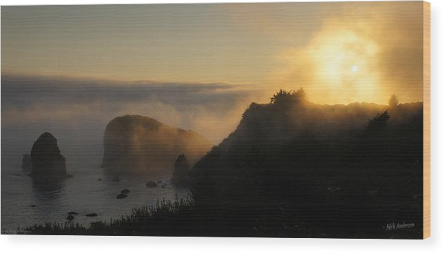 Panorama Wood Print featuring the photograph Harris Beach Sunset Panorama by Mick Anderson