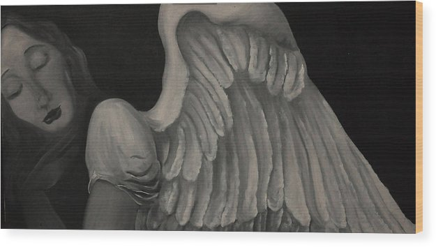 Anjo Wood Print featuring the painting Anjo by Aline Siqueira
