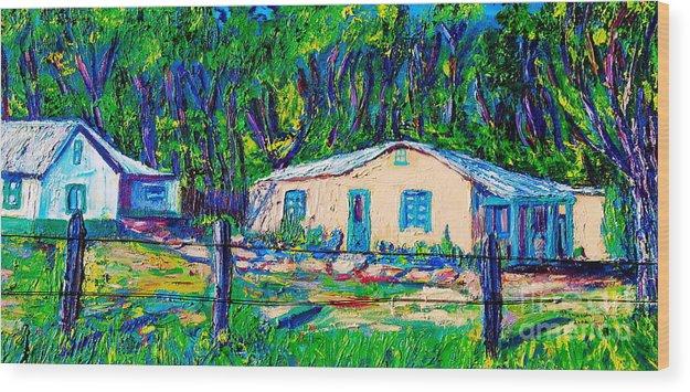 Landspape Wood Print featuring the painting Las Casas De Nuestros Vecinos by George Chacon
