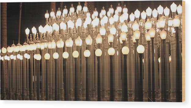 Lights Wood Print featuring the photograph Lights At The Lacma La County Museum Of Art 0766 by Edward Ruth