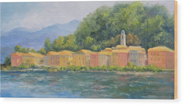 Italy Wood Print featuring the painting Bellagio - Pearl Of Lake Como by Bunny Oliver