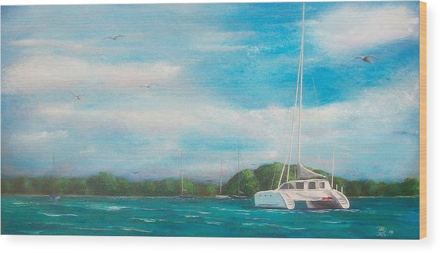 Seascape Wood Print featuring the painting Catamaran In Salinas Harbor by Tony Rodriguez