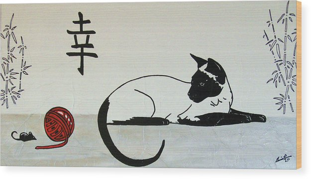 Contemporary Cat Wood Print featuring the painting La Cache-cache by Annie Rioux