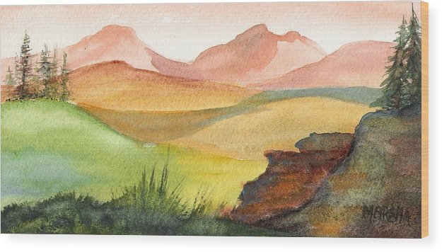 Landscape Wood Print featuring the painting Overlook by Marsha Woods