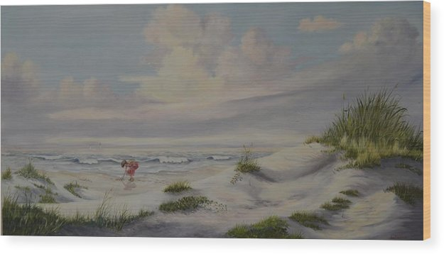 Landscape Wood Print featuring the painting Shadows In The Sand Dunes by Wanda Dansereau