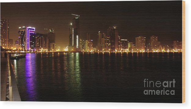 Sharjah Wood Print featuring the photograph Sharjah City At Night by Hussein Kefel