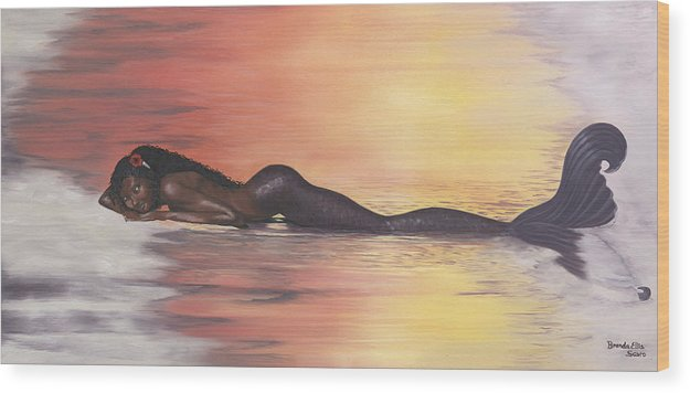 Sunset Wood Print featuring the painting Sunset Beauty by Brenda Ellis Sauro