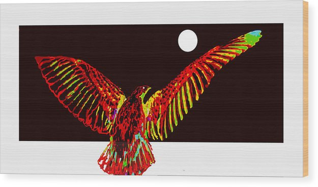 Bird Wood Print featuring the digital art Night Watch by Ck Gandhi