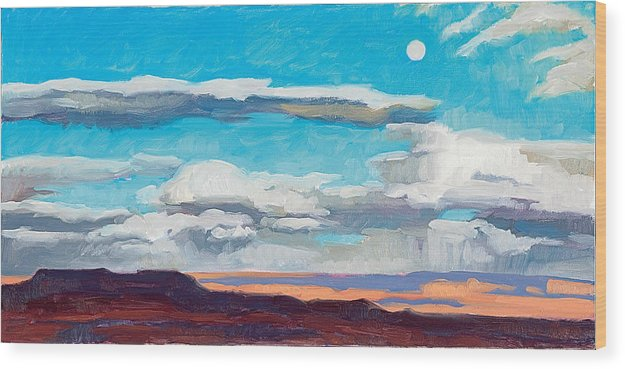 Landscape Wood Print featuring the painting Arizona Moonrise by Donna Ryan