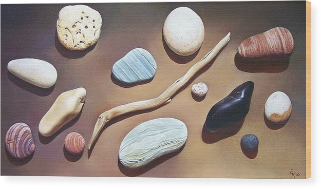 Still Life Wood Print featuring the painting Balance by Elena Kolotusha