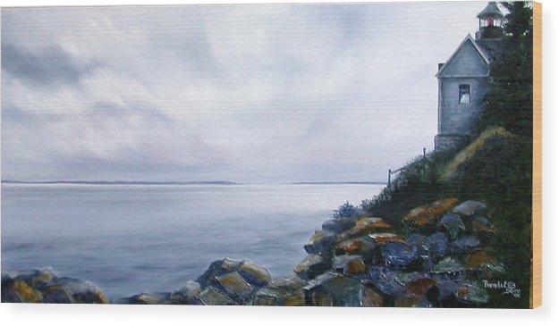 Ocean Wood Print featuring the painting Bass Harbor Maine by Brenda Ellis Sauro