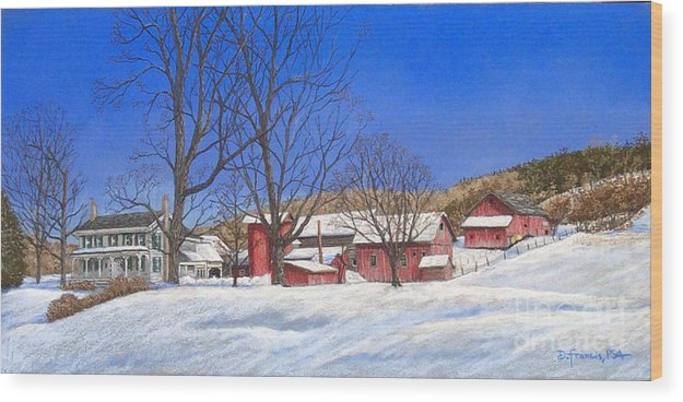 Landscape Wood Print featuring the painting Batteases Farm In Winter by David Francis