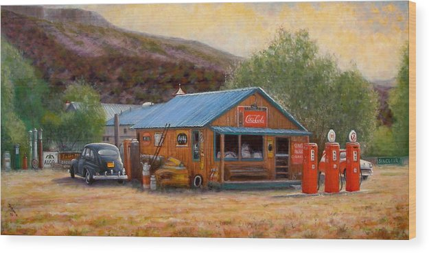 Realism Wood Print featuring the painting Below Taos 3 by Donelli DiMaria