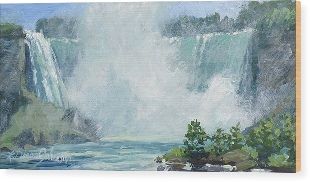 Niagara Falls Wood Print featuring the painting Crystal Mist by L Diane Johnson