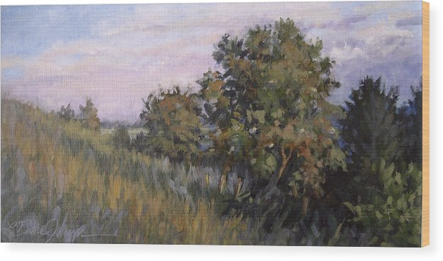 Tree Hillside Landscape Wood Print featuring the painting Dew On Dusk - Giverny France by L Diane Johnson