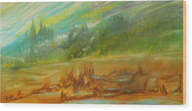 Contemporary Landscape Wood Print featuring the painting Exotisme by Annie Rioux