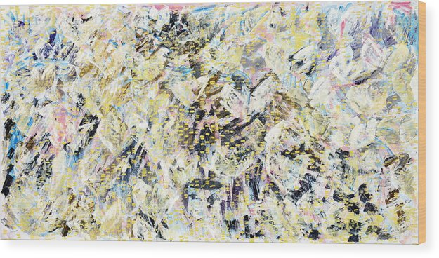 Abstract Wood Print featuring the painting Flock Of Birds by Joan De Bot
