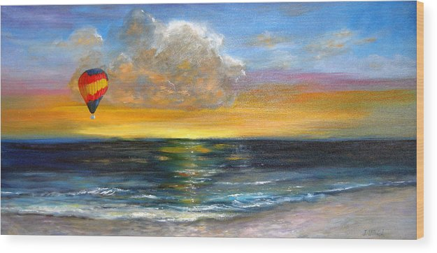 Landscape Wood Print featuring the painting Fly Away by Jeannette Ulrich