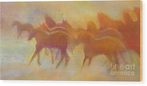 Horses Wood Print featuring the painting Foolin Around I by Kip Decker
