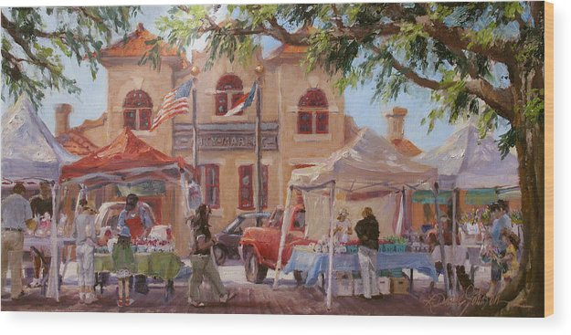 Old City Architecture Wood Print featuring the painting Market Day by L Diane Johnson