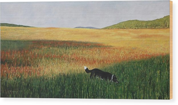Dog Wood Print featuring the painting Missy In The Field by Allan OMarra
