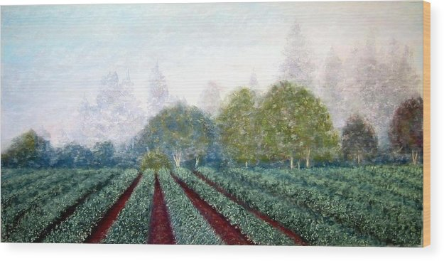Landscape Wood Print featuring the painting Misty Blue by Carl Capps