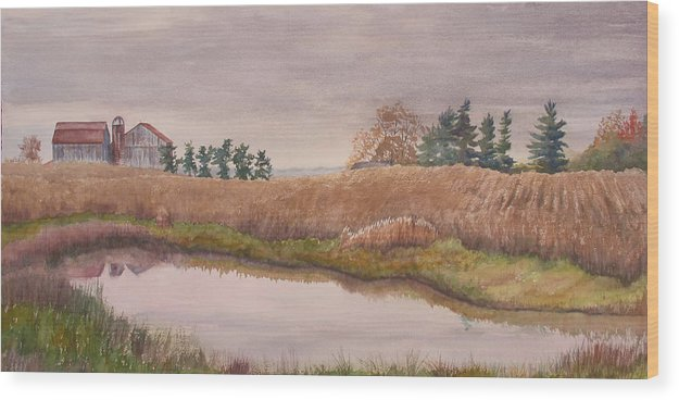 Farm Wood Print featuring the painting Pond Magic by Debbie Homewood