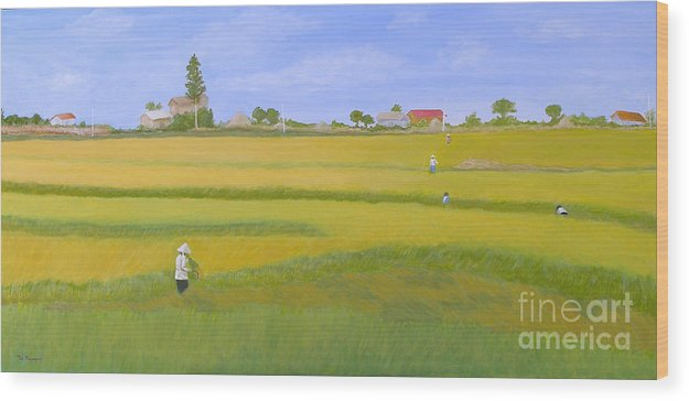 Scenic Wood Print featuring the painting Rice Field In Northern Vietnam by Thi Nguyen