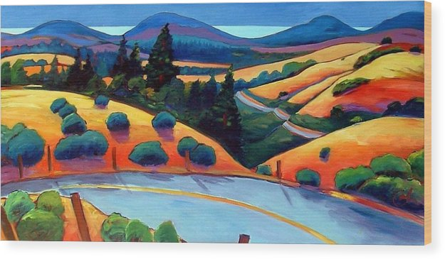 Road Wood Print featuring the painting Skyline To The Sea by Gary Coleman