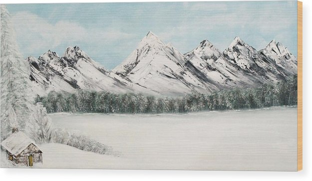 Alaskan Landscape Wood Print featuring the painting Solitude by Ofelia Uz