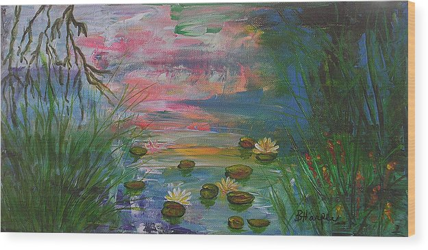 Water Lily Wood Print featuring the painting Water Lily Pond 2 by Barbara Harper