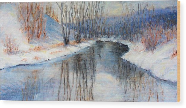 Winter Wood Print featuring the painting Winter Reflection by Ruth Mabee