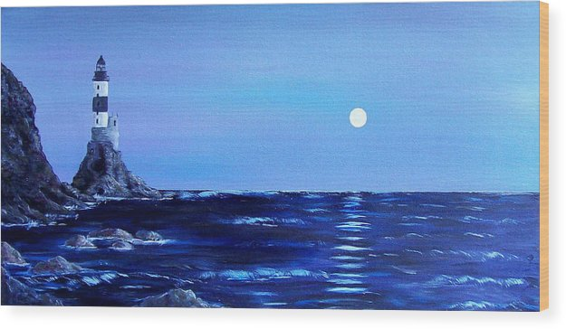 Seascape Wood Print featuring the painting Sakhalin Lighthouse by Tony Rodriguez