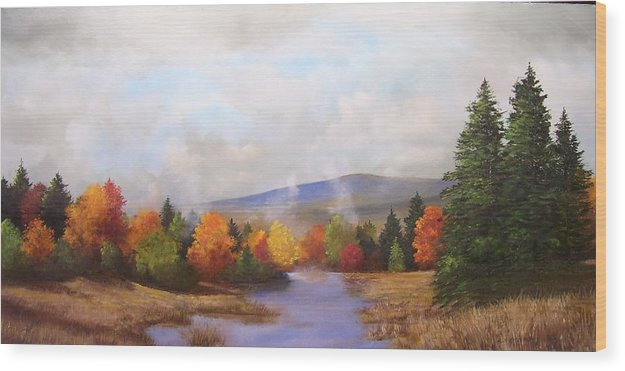 Fall Wood Print featuring the painting Fall Pond Scene by Ken Ahlering