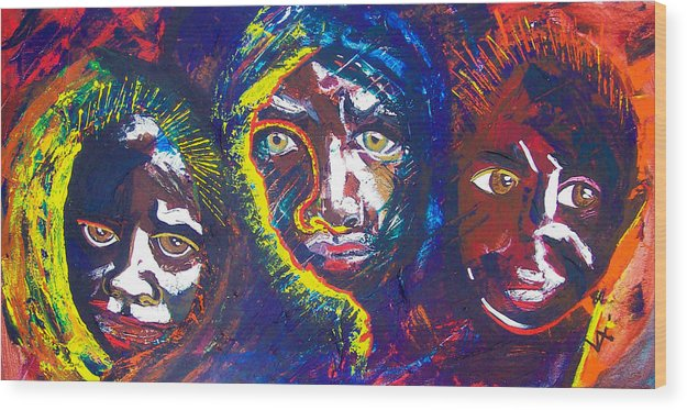 Darfur Wood Print featuring the painting Darfur - Eyes Of The Future by Valerie Wolf