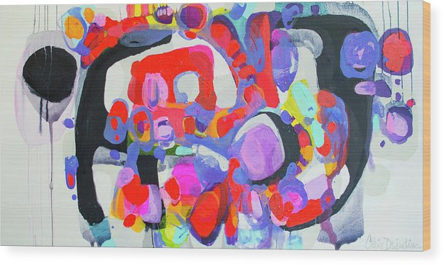 Abstract Wood Print featuring the painting Try Me by Claire Desjardins