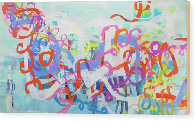 Abstract Wood Print featuring the painting Under The Electric Candelabra by Claire Desjardins