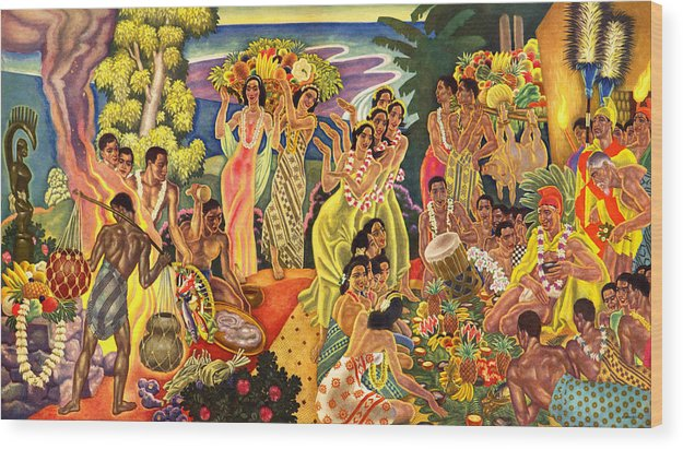 Hawaii Greeting Cards Wood Print featuring the painting Island Feast by James Temple