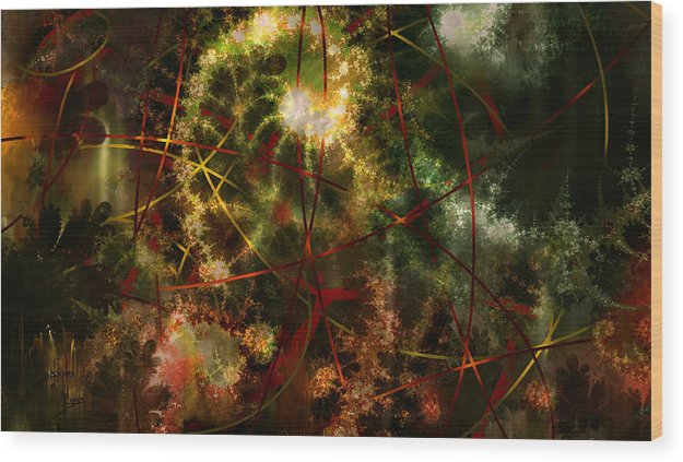 Abstract Wood Print featuring the digital art Bridges To Inner Sanctums by Stephen Lucas