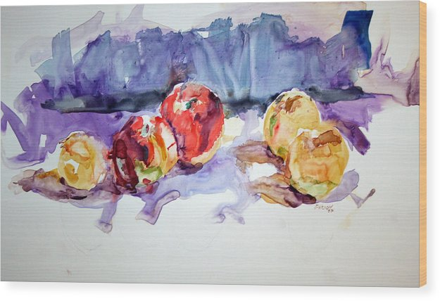Still Life Wood Print featuring the painting Apples by Roger Parnow