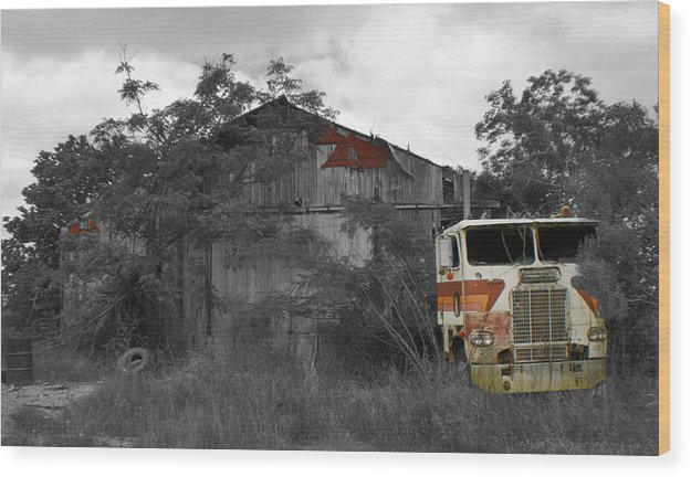 Truck Wood Print featuring the photograph When Nature And Machines Collide by Greg Sharpe