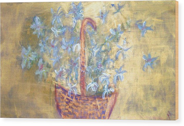 Floral Wood Print featuring the painting Wicker Basket Of Garden Flowers by Michela Akers