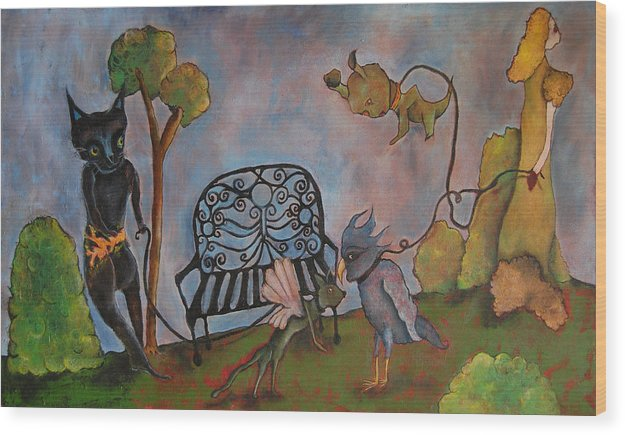 Bench Wood Print featuring the painting Untitled by Abigail Lee Goldberger