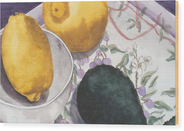 Still-life Wood Print featuring the painting Lemons And Avocado Still-life by Caron Sloan Zuger