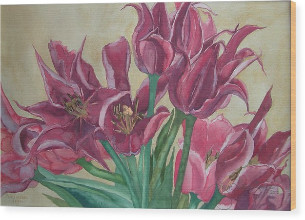 Watercolor Wood Print featuring the painting Mini-tulip Bouquet - 8 by Caron Sloan Zuger
