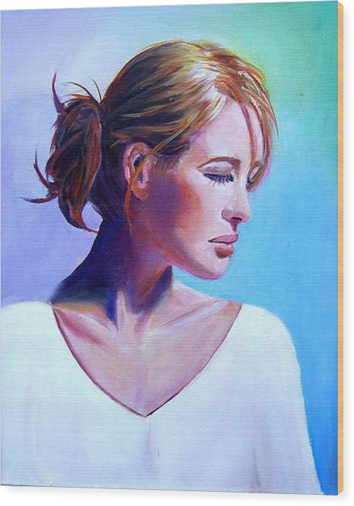 Portrait Of A Beautiful Woman Wood Print featuring the painting Elaine by George Markiewicz